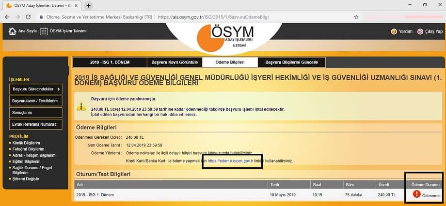 Ödeme bilgileri ekranı