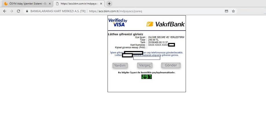 Banka ödemesi şifre girme ekranı